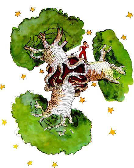 اخترکِ تنبلباشی با سه درختِ بائوباب