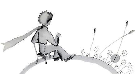 شهریار کوچولو در اخترکش مشغولِ تماشای غروبِ آفتاب