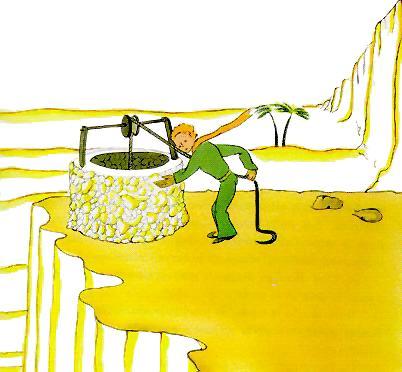 شهریار کوچولو در حالِ کشیدنِ آب از چاه