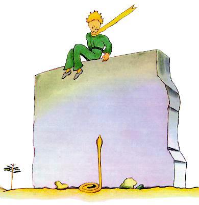 شهریار کوچولو نشسته بر دیوارِ سنگی و مار در پایینِ آن